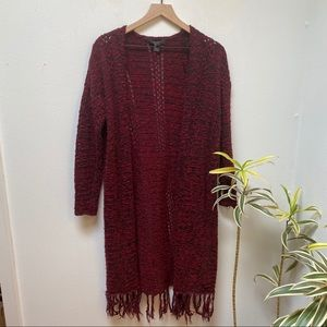 Forever 21 Red Open Front Tassel Duster Cardigan